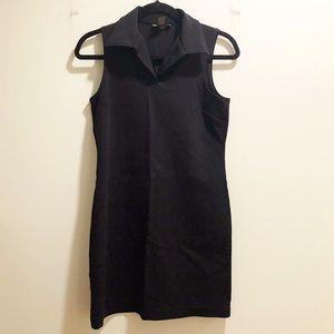 Black sleeveless & collared shift dress